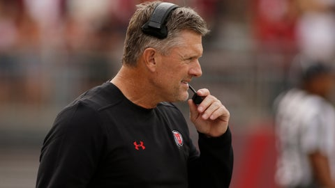 <p>               Utah head coach Kyle Whittingham looks on during the first half of an NCAA college football game against Washington State in Pullman, Wash., Saturday, Sept. 29, 2018. (AP Photo/Young Kwak)             </p>