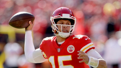 <p>               Kansas City Chiefs quarterback Patrick Mahomes looks to throw a pass during the first half of an NFL football game against the Denver Broncos in Kansas City, Mo., Sunday, Oct. 28, 2018. (AP Photo/Orlin Wagner)             </p>
