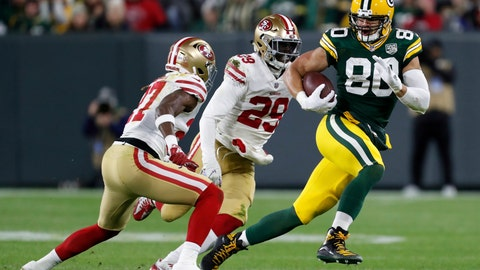 <p>               FILE - In this Monday, Oct. 15, 2018, file photo, Green Bay Packers tight end Jimmy Graham (80) runs against San Francisco 49ers free safety Adrian Colbert (27) and strong safety Jaquiski Tartt (29) after making a catch during the second half of an NFL football game in Green Bay, Wis. Two passions fuel Green Bay Packers tight end Jimmy Graham: flying and football. (AP Photo/Matt Ludtke, File)             </p>
