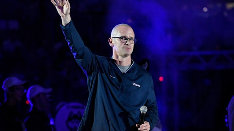 <p>               Connecticut men's basketball coach Dan Hurley is introduced during the First Night event in Storrs, Conn., Friday, Oct. 12, 2018. (AP Photo/Jessica Hill)             </p>