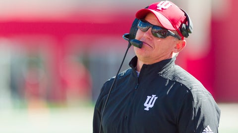Indiana head coach Tom Allen reacts to a call by the officials during the second half of an NCAA college football game against Iowa, Saturday, Oct. 13, 2018, in Bloomington, Ind. Iowa won 42-16. (AP Photo/Doug McSchooler)