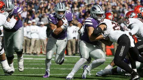 Oct 13, 2018; Manhattan, KS, USA; Kansas State Wildcats running back Alex Barnes (34) follows the block of fullback Adam Harter (80) on his way to one of his four touchdowns against the Oklahoma State Cowboys at Bill Snyder Family Stadium. Mandatory Credit: Scott Sewell-USA TODAY Sports