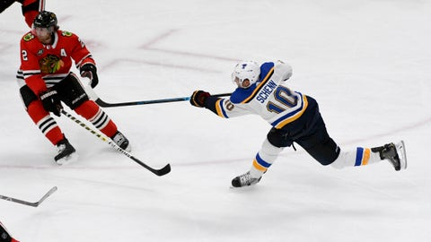 Oct 13, 2018; Chicago, IL, USA; St. Louis Blues center Brayden Schenn (10) scores a goal past Chicago Blackhawks defenseman Duncan Keith (2) during the second period at the United Center. Mandatory Credit: Matt Marton-USA TODAY Sports