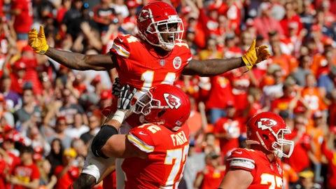 Kansas City Chiefs wide receiver Sammy Watkins (14) celebrates a touchdown with teammates during the second half of an NFL football game against the Denver Broncos in Kansas City, Mo., Sunday, Oct. 28, 2018. (AP Photo/Charlie Riedel)