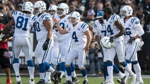 October 28, 2018; Oakland, CA, USA; Indianapolis Colts kicker Adam Vinatieri (4) is congratulated for kicking a field goal to become NFL's all-time points leader during the second quarter against the Oakland Raiders at Oakland Coliseum. Mandatory Credit: Kyle Terada-USA TODAY Sports