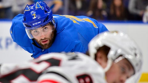 Oct 27, 2018; St. Louis, MO, USA; St. Louis Blues left wing Pat Maroon (7) waits for a face off during the third period against the Chicago Blackhawks at Enterprise Center. Mandatory Credit: Jeff Curry-USA TODAY Sports