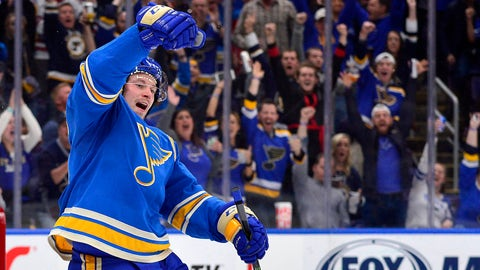 Oct 27, 2018; St. Louis, MO, USA; St. Louis Blues right wing Vladimir Tarasenko (91) celebrates after scoring his second goal of the game during the third period against the Chicago Blackhawks at Enterprise Center. Mandatory Credit: Jeff Curry-USA TODAY Sports