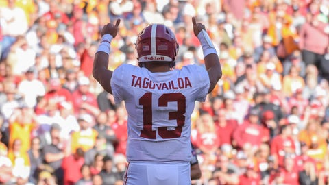 Oct 20, 2018; Knoxville, TN, USA; Alabama Crimson Tide quarterback Tua Tagovailoa (13) checks in with his sideline during the first half against the Tennessee Volunteers at Neyland Stadium. Mandatory Credit: Randy Sartin-USA TODAY Sports