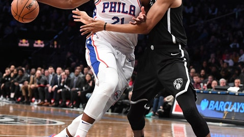 <p>               Philadelphia 76ers center Joel Embiid (21) drives the ball while defended by Brooklyn Nets center Jarrett Allen during the first half of an NBA basketball game, Sunday, Nov. 4, 2018, in New York. (AP Photo/Kathleen Malone-Van Dyke)             </p>