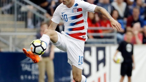 <p>               FILE - In this May 28, 2018, file photo, United States' Christian Pulisic controls the ball during an international friendly soccer match against Bolivia in Chester, Pa. Pulisic is scheduled to return to the U.S. national team after playing in just one match over 13 months. Interim coach Dave Sarachan announced a 28-man roster Tuesday, Nov. 6, 2018, for exhibitions at England on Nov. 15 and against Italy five days later at Genk, Belgium.  (AP Photo/Matt Slocum, File)             </p>