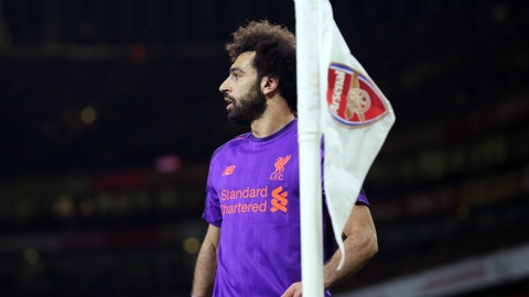 <p>               Liverpool's Mohamed Salah walks near the corner flag during the English Premier League soccer match between Arsenal and Liverpool at Emirates stadium in London, England, Saturday, Nov. 3, 2018. (AP Photo/Tim Ireland)             </p>