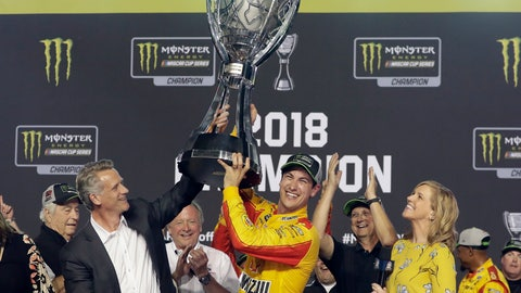 <p>               Joey Logano holds the trophy after winning the NASCAR Cup Series Championship auto race at the Homestead-Miami Speedway, Sunday, Nov. 18, 2018, in Homestead, Fla. (AP Photo/Lynne Sladky)             </p>