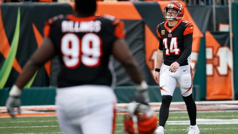 <p>               Cincinnati Bengals quarterback Andy Dalton (14) walks off the field after possibly injuring his hand following a failed attempt to recover a fumble in the second half of an NFL football game against the Cleveland Browns, Sunday, Nov. 25, 2018, in Cincinnati. (AP Photo/Frank Victores)             </p>