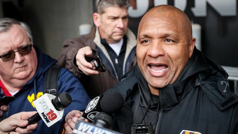 <p>               FILE - In this Wednesday, Nov. 14, 2018 file photo, Cincinnati Bengals special assistant Hue Jackson speaks to reporters before football practice at Paul Brown Stadium in Cincinnati. While the Browns were relaxing during their bye week, their former fired coach went back to work. Cleveland's strange season will have yet another twist on Sunday when the Browns face the Cincinnati Bengals and Jackson, who was hired by the team last week to serve as a special assistant to coach Marvin Lewis. (AP Photo/John Minchillo, File)             </p>