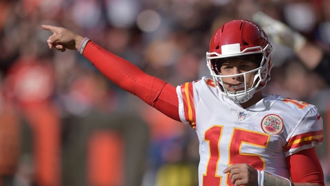 <p>               FILE - In this Sunday, Nov. 4, 2018 file photo, Kansas City Chiefs quarterback Patrick Mahomes (15) in action during an NFL football game against the Cleveland Browns in Cleveland. After years of declines, NFL television ratings are showing modest gains. Three of the league's television partners have shown increases after the first nine week of the season while one remains flat. That is welcome news after ratings decreased 9.7 percent last season and 8 percent in 2016. (AP Photo/David Richard, File)             </p>