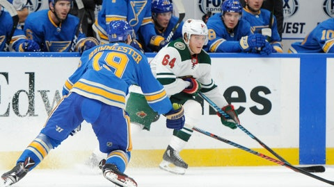 <p>               Minnesota Wild's Mikael Granlund (64), of Finland, looks to pass around St. Louis Blues' Jay Bouwmeester (19) during the first period of an NHL hockey game, Saturday, Nov. 3, 2018, in St. Louis. (AP Photo/Bill Boyce)             </p>