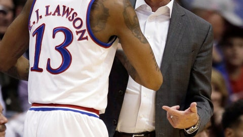 <p>               Kansas coach Bill Self talks with guard K.J. Lawson during the second half of the team's preseason NCAA college basketball game against Washburn in Lawrence, Kan., Thursday, Nov. 1, 2018. (AP Photo/Orlin Wagner)             </p>