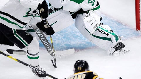 <p>               Dallas Stars goaltender Anton Khudobin (35) watches as Boston Bruins left wing Brad Marchand (63) chases the puck during the first period of a hockey game in Boston, Monday, Nov. 5, 2018. At left is Dallas Stars defenseman Miro Heiskanen (4). (AP Photo/Charles Krupa)             </p>