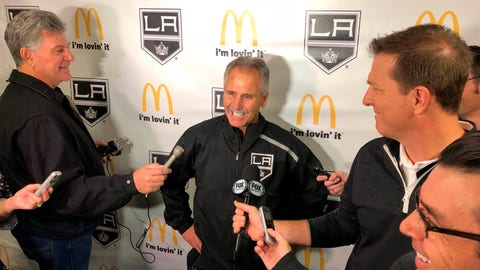 <p>               Los Angeles Kings interim coach Willie Desjardins reacts to a question from reporters after his first practice with his new team on Monday, Nov. 5, 2018, in Los Angeles. Desjardins is taking over for the fired John Stevens with hopes of improving the Kings' NHL-worst start to the season. (AP Photo/Greg Beacham)             </p>