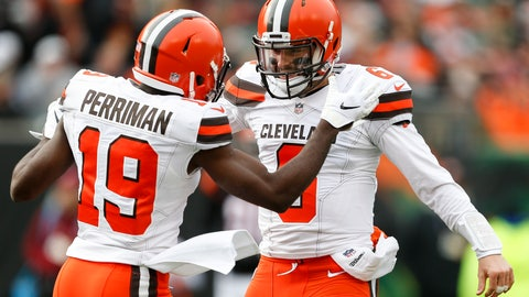 <p>               Cleveland Browns quarterback Baker Mayfield (6) and wide receiver Breshad Perriman (19) celebrate in the first half of an NFL football game against the Cincinnati Bengals, Sunday, Nov. 25, 2018, in Cincinnati. (AP Photo/Gary Landers)             </p>