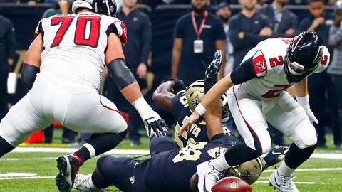 <p>               FILE - In this Thursday, Nov. 22, 2018, file photo, Atlanta Falcons quarterback Matt Ryan (2) fumbles during the first half of an NFL football game against the New Orleans Saints in New Orleans.  A three-game losing streak has exposed recurring weaknesses on the Faclson's roster, and coach Dan Quinn's biggest concern is kick-starting a highly paid but lackluster offense. (AP Photo/Butch Dill, File)             </p>