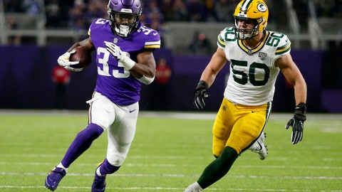 <p>               Minnesota Vikings running back Dalvin Cook (33) runs from Green Bay Packers inside linebacker Blake Martinez (50) during the first half of an NFL football game, Sunday, Nov. 25, 2018, in Minneapolis. (AP Photo/Bruce Kluckhohn)             </p>