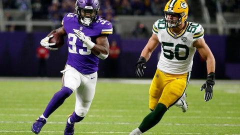 <p>               Minnesota Vikings running back Dalvin Cook (33) runs from Green Bay Packers inside linebacker Blake Martinez (50) during the first half of an NFL football game, Sunday, Nov. 25, 2018, in Minneapolis. (AP Photo/Bruce Kluckhohn)             </p>