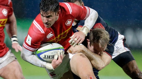 <p>               Canada's DTH Van Der Merwe, left, is tackled by Hong Kong's Toby Fenn, during the 2019 Japan Rugby Union World Cup qualifying match between Canada and Hong Kong, in Marseille, southern France, Friday, Nov. 23, 2018. (AP Photo/Claude Paris)             </p>