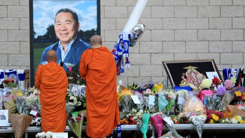 <p>               Buddhist Monks pay their respects at at Leicester City Football Club in Leicester, England, Wednesday, Oct. 31, 2018. Leicester's grieving players will take to the field for the first time since the death of the club's owner in a helicopter crash when they visit Cardiff for a Premier League game on Saturday. (Mike Egerton/PA via AP)             </p>
