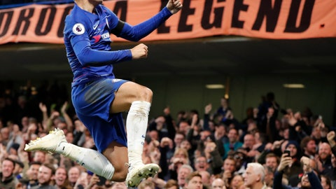 <p>               Chelsea's Alvaro Morata celebrates after scoring the opening goal during the English Premier League soccer match between Chelsea and Crystal Palace at Stamford Bridge stadium in London, Sunday, Nov. 4, 2018. (AP Photo/Frank Augstein)             </p>