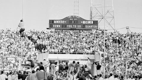 <p>               FILE - In this Oct. 8, 1966, file photo, joyous Oklahoma Sooner fans climb the goal posts to tear down the cross bar after Oklahoma defeated Texas 18-9 in a college football game at the Cotton Bowl in Dallas. No. 5 Oklahoma and No. 9 Texas are playing in a rare Red River rivalry rematch in the Big 12 championship game on Saturday. It is the first time in 115 years that the border state rivals will play twice in the same season.  (AP Photo/Ferd Kaufman, File)             </p>