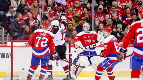 <p>               Arizona Coyotes center Alex Galchenyuk reacts asnCoyotes right wing Richard Panik scores against Washington Capitals goaltender Braden Holtby in the second period of an NHL hockey game, Sunday, Nov. 11, 2018, in Washington. (AP Photo/Andrew Harnik)             </p>