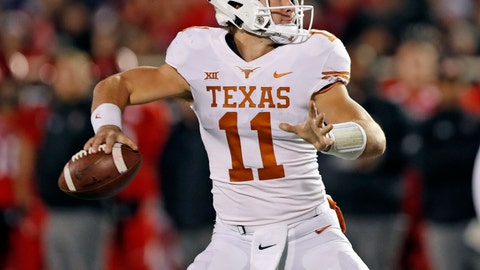 <p>               Texas' Sam Ehlinger (11) looks to pass the ball during the first half of an NCAA college football game against Texas Tech, Saturday, Nov. 10, 2018, in Lubbock, Texas. (AP Photo/Brad Tollefson)             </p>