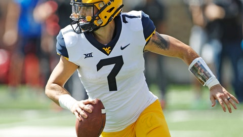 <p>               FILE - In this Sept. 29, 2018, file photo, West Virginia's Will Grier (7) looks to pass the ball during the second half of an NCAA college football game against Texas Tech, in Lubbock, Texas. No. 6 Oklahoma and No. 12 West Virginia meet in a regular season finale with the winner headed to the Big 12 championship game. The loser could also make it to the December 1 title game, but would need help. The Sooners and Mountaineers play Friday night, Nov. 23, 2018, after Texas plays at Kansas earlier in the day. The Longhorns clinch a spot in the Big 12 title game if they beat the Jayhawks. (AP Photo/Brad Tollefson, File)             </p>