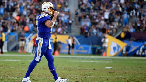 <p>               Los Angeles Chargers quarterback Philip Rivers pumps his fist after his team scored during the second half of an NFL football game against the Arizona Cardinals Sunday, Nov. 25, 2018, in Carson, Calif. (AP Photo/Kelvin Kuo)             </p>