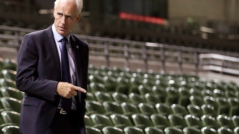 <p>               New Republic of Ireland manager Mick McCarthy following a press conference at The Aviva Stadium in Dublin, Ireland, Sunday Nov. 25, 2018. McCarthy has a two-year deal, confirmed on Sunday, to try and qualify for the upcoming European Championships. (Niall Carson/PA via AP)             </p>