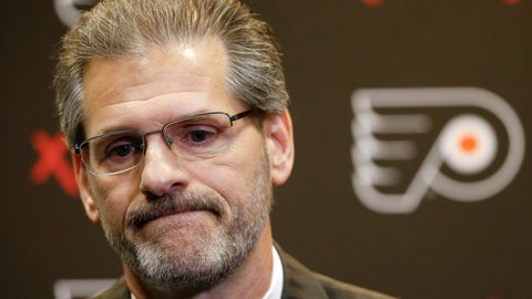 <p>               FILE - In this April 11, 2016, file photo, Philadelphia Flyers general manager Ron Hextall speaks with members of the media during a NHL hockey news conference in Voorhees, N.J. The Flyers fired Hextall on Monday, Nov. 26, 2018. (AP Photo/Matt Rourke, FIle)             </p>