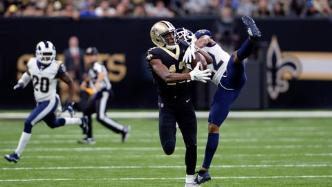 <p>               FILE - In this Nov. 4, 2018, file photo, New Orleans Saints wide receiver Michael Thomas (13) pulls in a pass against Los Angeles Rams cornerback Marcus Peters (22) during the first half of an NFL football game in New Orleans. Peters criticized himself for playing poorly when the Rams took their first loss of the season at New Orleans last weekend. That doesn't mean Saints coach Sean Payton can say anything about it, however. Peters reacted sharply in the Rams' locker room Thursday, Nov. 8, when asked about postgame comments by Payton in which the veteran coach said the Saints liked the matchup of receiver Michael Thomas going against Peters, a former Pro Bowl selection. (AP Photo/Bill Feig, File)             </p>