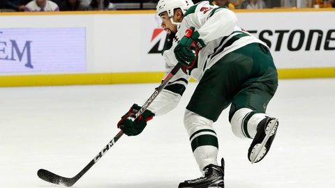 <p>               FILE - In this Oct. 15, 2018, file photo, Minnesota Wild defenseman Matt Dumba scores a goal against the Nashville Predators in the first period of an NHL hockey game in Nashville, Tenn. Since trading Brent Burns seven years ago, the Wild finally have another blue-liner in Dumba, among the NHL's goal-scoring leaders for defensemen. (AP Photo/Mark Humphrey, File)             </p>