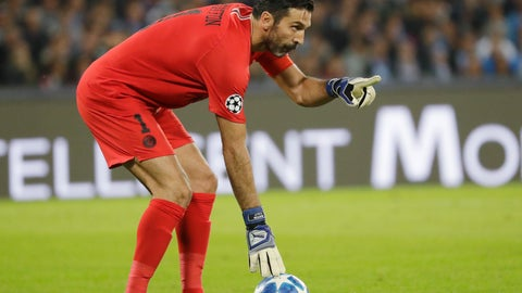 <p>               PSG goalkeeper Gianluigi Buffon gestures during a Champions League, group C soccer match between Napoli and Paris Saint Germain, at the San Paolo stadium in Naples, Italy, Tuesday, Nov. 6, 2018. (AP Photo/Andrew Medichini)             </p>