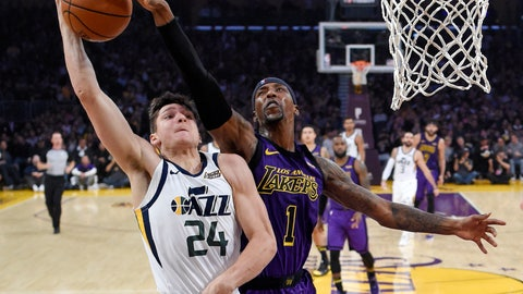 <p>               Utah Jazz guard Grayson Allen, left, has his shot blocked by Los Angeles Lakers guard Kentavious Caldwell-Pope during the first half of an NBA basketball game Friday, Nov. 23, 2018, in Los Angeles. (AP Photo/Mark J. Terrill)             </p>