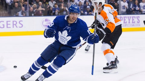 <p>               Toronto Maple Leafs' Andreas Johnsson celebrates after scoring his second goal during the first period of an NHL hockey game against the Philadelphia Flyers in Toronto on Saturday, Nov. 24, 2018. (Chris Young/The Canadian Press via AP)             </p>