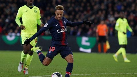 <p>               PSG's Neymar, center, shots to score his side second goal during the League One soccer match between Paris Saint-Germain and Lille at the Parc des Princes stadium in Paris, Friday, Nov. 2, 2018. (AP Photo/Thibault Camus)             </p>