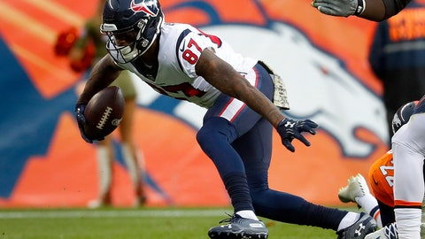 <p>               Houston Texans wide receiver Demaryius Thomas (87) runs after the catch during the first half of an NFL football game against the Denver Broncos, Sunday, Nov. 4, 2018, in Denver. (AP Photo/Jack Dempsey)             </p>