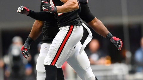 <p>               Atlanta Falcons defensive end Vic Beasley (44) celebrates with Atlanta Falcons defensive back Keith Tandy (35) after Beasley sacked Dallas Cowboys quarterback Dak Prescott during the second half of an NFL football game, Sunday, Nov. 18, 2018, in Atlanta. (AP Photo/John Amis)             </p>
