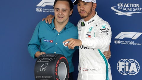 <p>               Mercedes driver Lewis Hamilton, of Britain, right, poses for a picture with former Brazilian driver Felipe Massa, after Hamilton clocked the fastest time during the qualifying session for the Brazilian Formula One Grand Prix at the Interlagos race track in Sao Paulo, Brazil, Saturday, Nov. 10, 2018. (AP Photo/Andre Penner)             </p>
