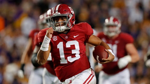 <p>               Alabama quarterback Tua Tagovailoa (13) rushes on a 44 yard touchdown carry in the second half of an NCAA college football game in Baton Rouge, La., Saturday, Nov. 3, 2018. Alabama won 29-0. (AP Photo/Gerald Herbert)             </p>
