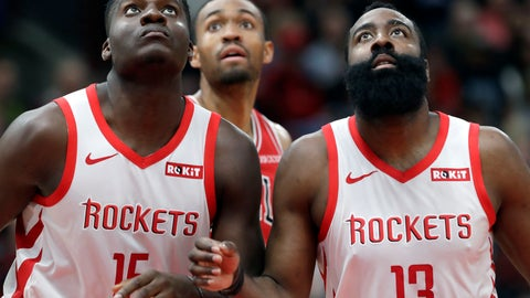 <p>               Houston Rockets center Clint Capela, left, and guard James Harden watch the ball during the second half of an NBA basketball game against the Chicago Bulls, Saturday, Nov. 3, 2018, in Chicago. (AP Photo/Nam Y. Huh)             </p>