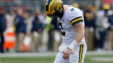 <p>               Michigan quarterback Shea Patterson reacts to throwing an incomplete pass against Ohio State during the second half of an NCAA college football game Saturday, Nov. 24, 2018, in Columbus, Ohio. Ohio State beat Michigan 62-39. (AP Photo/Jay LaPrete)             </p>