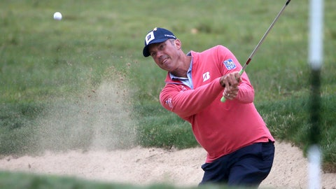 <p>               Matt Kuchar of the U.S.A. plays from a bunker on the 8th during the Australian Open Golf tournament in Sydney, Thursday, Nov. 15, 2018. (AP Photo/Rick Rycroft)             </p>